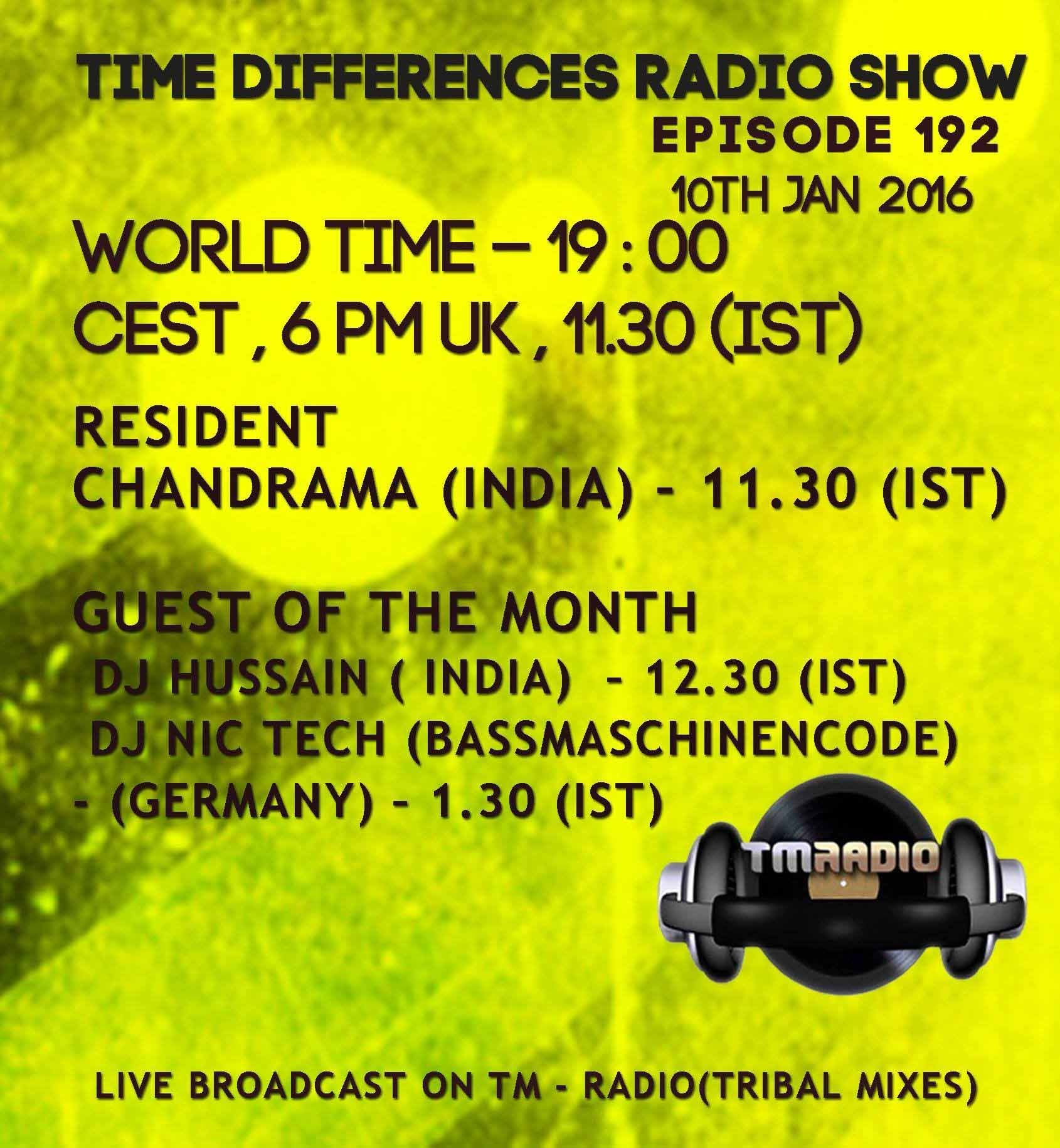 Time Differences :: Episode 192, hosted by Chandrama (aired on January 10th, 2016) banner logo