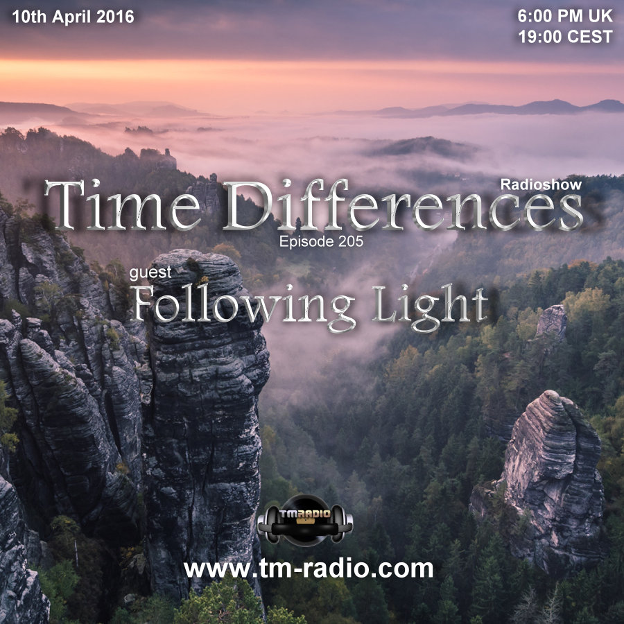 Time Differences :: Episode 205 with Guest Following Light (aired on April 10th, 2016) banner logo