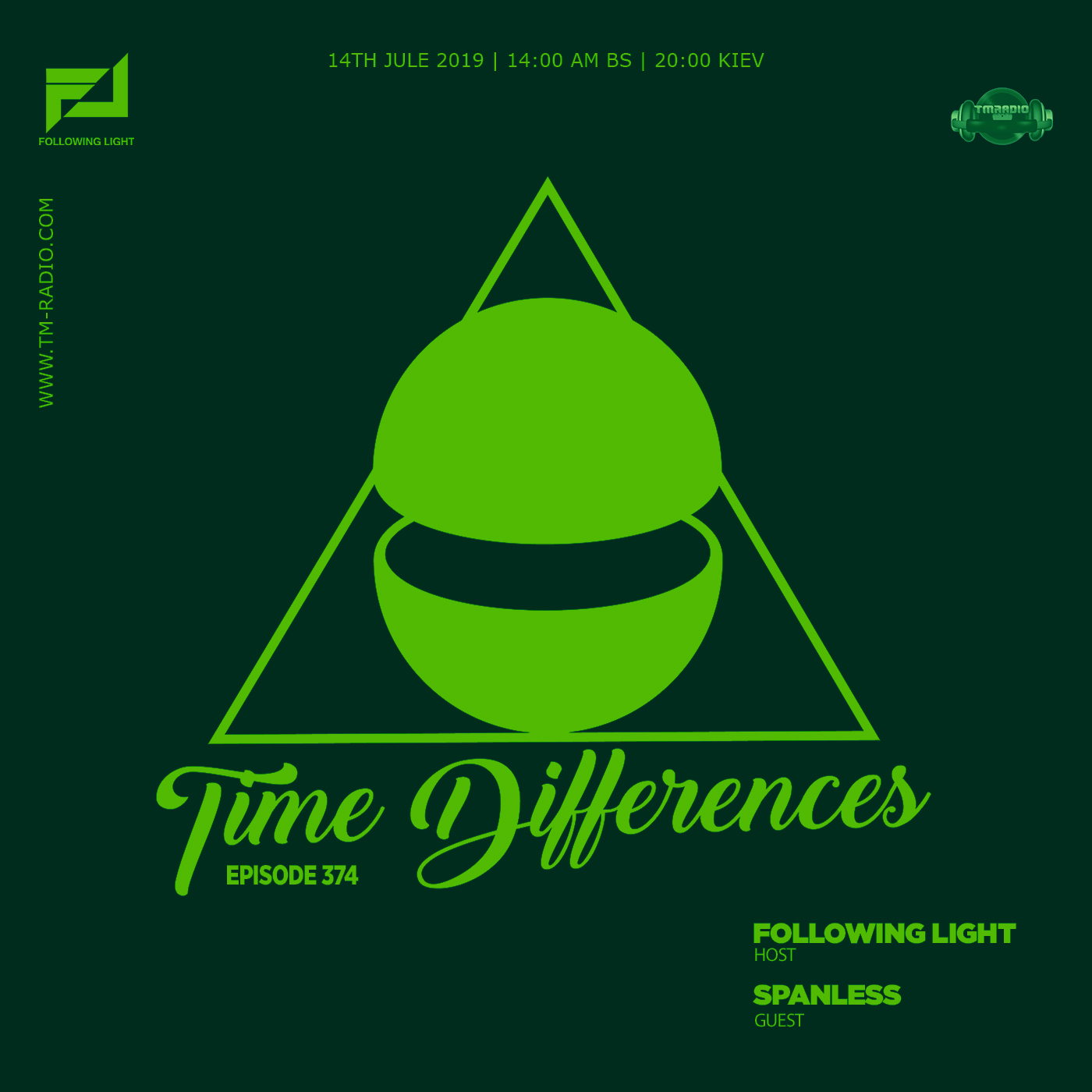 Time Differences :: Episode 374, with host Following Light and guest Spanless (aired on July 14th, 2019) banner logo
